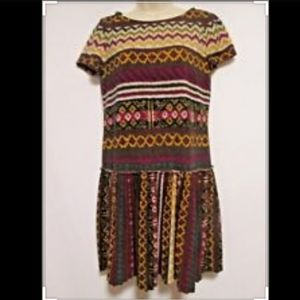 Boho Geometric Sweater Dress w. Pleated Skirt